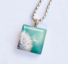 Dandelion photography glass tile pendant by mylittlepixels on Etsy