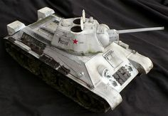 Trumpeter's 1/16 scale T-34/76 Model 1943 medium tank in winter camouflage.