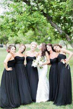 Elegant long black bridesmaid dresses @weddingchicks