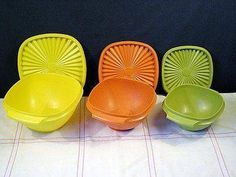 The colors of the 70s! We still have the yellow one which often gets used to freeze leftover sour or chili.