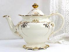 Sadler Teapot, Vintage Tea Pot  England, Milky White Gilt Decorations 12556 by TheVintageTeacup on Etsy