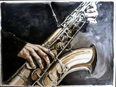 watercolor saxophone playing