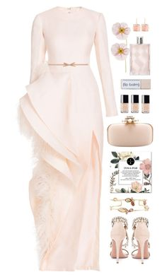 """*1468"" by cutekawaiiandgoodlooking ❤ liked on Polyvore featuring Aquazzura, Oscar de la Renta, Chanel, Burberry, Prada, Larkspur & Hawk, gown, ruffles and Ashi"