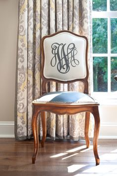 Monogram Chair!  would love to have a matching set as accents somewhere in the house