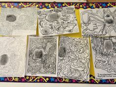"""Grade: 5/6 Subject: Visual Art Students explored lines by beginning with a magnified version of their fingerprints. They extended the lines from their prints to fill the whole page. They then wrote """"I am unique because..."""" statements around the outside."""