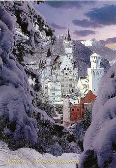 One of my all time favourite postcards. My first of this castle and I would love many more different views. I cant believe that this amazing castle is not UNESCO listed as yet. Neuschwanstein Castle 1869-1886. Neuschwanstein Castle (German: Schloss Neuschwanstein, lit. New Swan Stone palace is a 19th-century Bavarian palace on a rugged hill near Hohenschwangau and Füssen in southwest Bavaria, Germany. The palace was commissioned by Ludwig II of Bavaria as a retreat and as an homage to Ric...