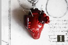 SALE Handmade gothic anatomical voodoo heart pin badge - Polymer clay