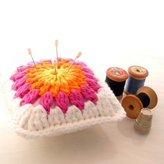 Crochet Cotton Flower Pincushion. $15.00, via Etsy.