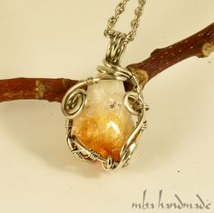 Citrine Point Crystal Pendant German Silver Wire Wrapped Vintage Crystal Healing #MBAHandmade #Wrap