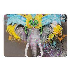 "East Urban Home My Elephant with Headdress by Geordanna Cordero-Fields Bath Mat Size: 17""W x 24""L"
