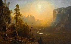 """Albert Bierstadt (1830-1902) was the first American painter to capture fully the symbolic power of the Rocky Mountains, Sierra Nevada, and Yosemite Valley.  Images of landscape and ideas of nation were deeply intertwined, helping to shape and articulate American identity in the mid-nineteenth century. (artgallery.yale.edu)  (""""Yosemite Valley Glacier Point Trail"""" by Albert Bierstadt)"""