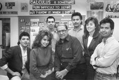 17. STAND AND DELIVER. Wow. The movie was based on the true-life story of an east L.A. teacher who turned around problem high school students helping huge numbers of them pass the A.P. Calculus test. This is a photo of the real Jamie Escalante and some of his students. He died in 2010 at 79.