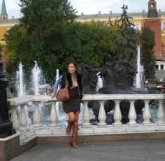 brown suede dress and black toscana gilet @ the Red Square, Moscow