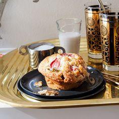 Jumbo Strawberry-and-Rhubarb Muffins