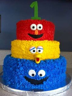 Buttercream Sesame Street Cake, replace the 1 by 38 and it will be mine!