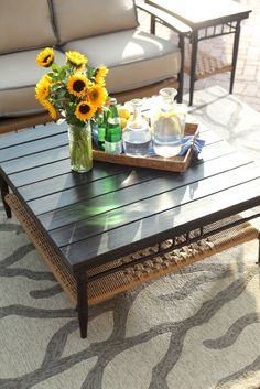 Elegant indoor-outdoor White and Silver Grey Coral Area Rug from the #Coastal Living Collection,  Love this idea!