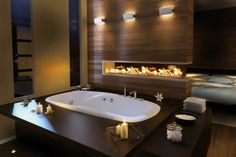white-modern-bathtub-wilver-modern-sink-brown-modern-wooden-wall-brown-modern-wooden-flooring
