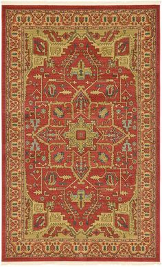 Red Heriz Design Area Rug