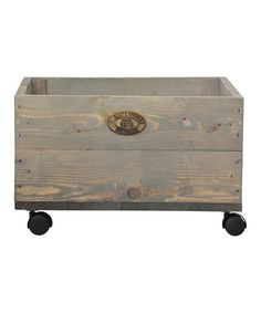 Another great find on #zulily! Small Wheeled Wood Planter #zulilyfinds