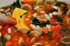 Tomato, White Bean, Pasta Soup from Two Blue Lemons