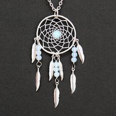 Dream Catcher Sea Opal Glass & Silver Dreamcatcher Necklace with Feathers on Etsy, $24.58