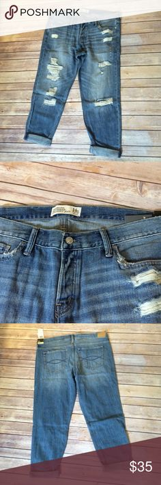 BNWT Abercrombie boyfriend jeans Brand new boyfriend straight jeans by Abercrombie in a size 14. Really soft and comfy distressed denim. 32 waist/25 length Abercrombie & Fitch Jeans Boyfriend
