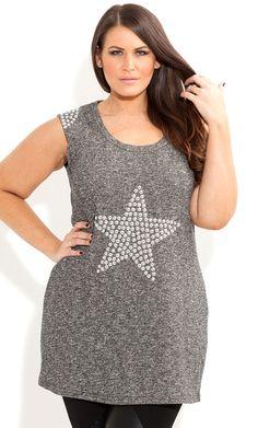 City Chic - STUD STAR SWEAT TOP - Women's plus size fashion