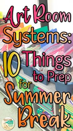 Who wants to spend Summer vacation in a hot, sweaty classroom? If you'd like to reclaim your personal time as your own, check out these 10 things to prep for Summer break. These art room systems will become a yearly routine to help you leave on the l Art Classroom Decor, Art Classroom Management, Classroom Organization, Classroom Ideas, Class Management, School Classroom, Classroom Signs, Classroom Tools, Classroom Inspiration