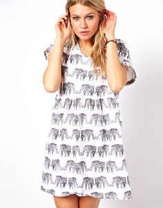 ASOS Smock Dress In Elephant Print
