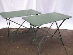 Pair of French Folding Bistro Tables | From a unique collection of antique and modern industrial and work tables at http://www.1stdibs.com/furniture/tables/industrial-work-tables/