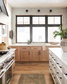 Home Decor Cozy Natural Wood Kitchen Design - Studio McGee Home Decor Kitchen, Kitchen Interior, New Kitchen, Home Kitchens, Kitchen Ideas, Coastal Interior, Natural Kitchen, Eclectic Kitchen, Interior Colors