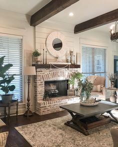 Gorgeous Country Farmhouse Decor Ideas For Living Room - Decoration Fireplace Garden art ideas Home accessories Farmhouse Fireplace, Home Fireplace, Living Room With Fireplace, Fireplace Design, Fireplace Brick, Fireplace In Kitchen, Rustic Mantle, Fireplace Lighting, Brick Fireplace Makeover