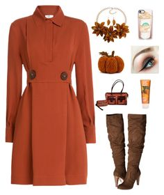 """Pumpkin spice 3"" by im-karla-with-a-k on Polyvore featuring Fendi, Carlos by Carlos Santana, Dooney & Bourke, Casetify and Lime Crime"