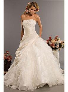 Amazing Strapless Ball Gown Sleeveless Chapel Train Wedding Dress Wg2329