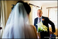 Dad's first glimpse of Zoe in her wedding dress -