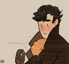 That coat is not only gorgeous, but also keeps John warm. // How dually functional.looks to me like John crying on Sherlock after he returns. Sherlock Fandom, Sherlock Holmes Benedict, Watson Sherlock, Sherlock Quotes, Sherlock John, Benedict Cumberbatch, Jim Moriarty, Sherlock Fan Art, Sherlock Holmes Funny