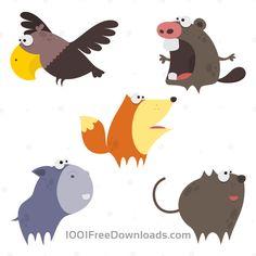 Free Vectors: Cute Animals Vector Set 1   Animals