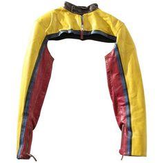 Preowned Jean Paul Gaultier Leather Shoulder Biker (€1.525) ❤ liked on Polyvore featuring outerwear, jackets, tops, crop top, orange, vintage jackets, biker jacket, cropped jacket, white jacket and orange jacket