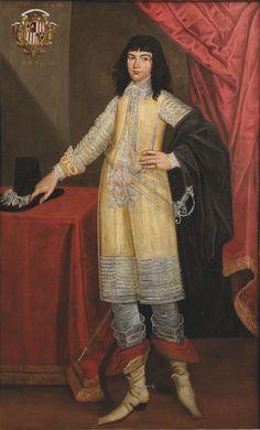 Ecole de l'Italie du NORD du XVII° siècle Portrait d'un jeune homme en habit jaune Toile. Porte en haut à gauche des armoiries, famille Monti, originaire de Venise. 194 x 121 cm
