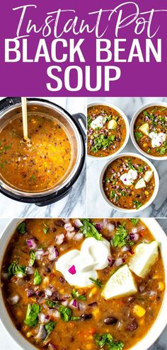This is the easiest ever Instant Pot Black Bean Soup - this smoky, spicy soup is packed with flavor and so comforting for cozy nights in. #instantpot #blackbeansoup Whole Food Recipes, Soup Recipes, Vegetarian Recipes, Healthy Recipes, Spicy Soup, Black Bean Soup, Meal Prep Bowls, Batch Cooking, 30 Minute Meals
