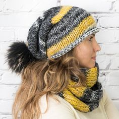 c6d2a316cbb Chunky winter hat and scarf matching set Wool knit infinity Chunky Yarn
