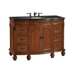 Home Decorators Collection Kendall 48 in. W x 22 in. D Vanity in Antique Cherry with Granite Vanity Top in Black-DISCONTINUED-5294210120 at The Home Depot