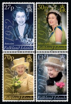HER MAJESTY, THE QUEEN   Commemorative stamp issue from the Falkland Islands celebrating  the Queen's Diamond Jubilee.  ~ Ascension to the Throne ~ Silver Jubilee ~ Golden Jubilee ~ Diamond Jubilee