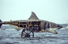 HAPPY 40th Anniversary Jaws! Won Oscars for best sound, best editing, and best musical score. (Was nominated for best picture and director). Image: Bruce the mechanical shark from Jaws on the set. viaStan Winston School of Character Arts.More Vintage here.