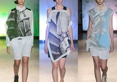 MM6 Maison Martin Margiela S/S 2014-Blurring and Distortion – Tonal and Monochromatic – Fused Photographic Landscapes – Enlarged Urban Photographic - Translucent Tones – Indust...