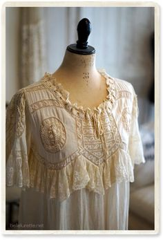 アンティークレースワンピース - 【Belle Lurette】ヨーロッパ フランス アンティークレース リネン服の通販