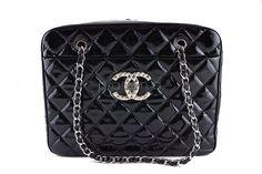 Chanel Black Luxury Giant XL Brilliant CC Patent Camera Tote Bag
