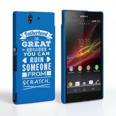 Caseflex Fatherhood Funny Quote Sony Xperia Z Case – Blue | Mobile Madhouse