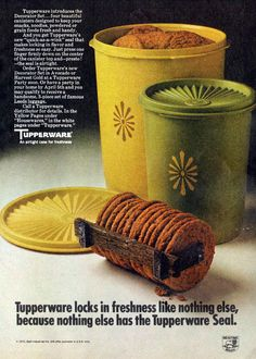 Tupperware - 1971 I think everybody still has at least one container that looks like this My Childhood Memories, Best Memories, Vintage Tupperware, Tupperware Canisters, Vintage Kitchenware, Pyrex, Nostalgia, Retro Advertising, I Remember When