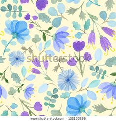 Seamless watercolor pattern with blue flowers on yellow background by Radiocat, via ShutterStock